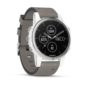 fenix 5S Plus Sapphire - White with Gray Suede Band