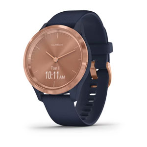 vivomove 3S - Navy Silicone with Rose Gold Hardware