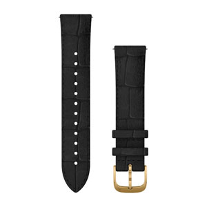 Garmin Quick Release 20mm Band - Black Embossed Italian Leather with 24K Gold PVD Hardware