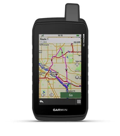 Render of a Montana 700 GPS Unit with a Routing option displaying on screen.
